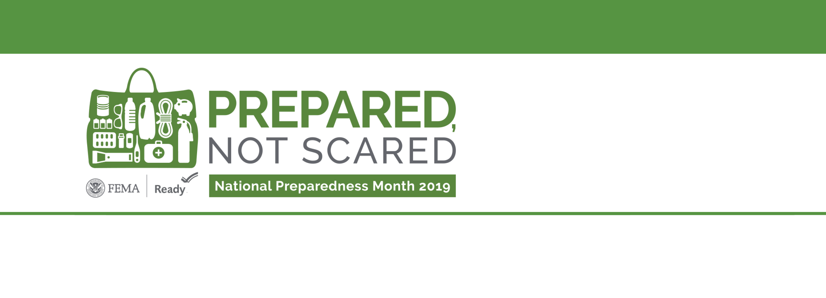 "National Preparedness Month logo with ""Prepared, not scared"" and a supply kit"