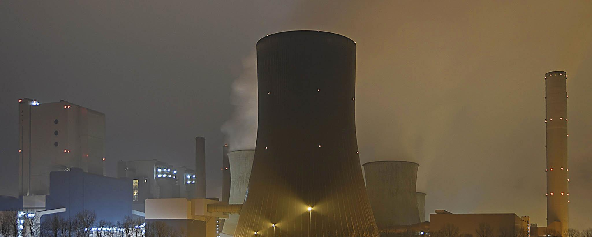 Power Plant Cooling Tower shown at dusk