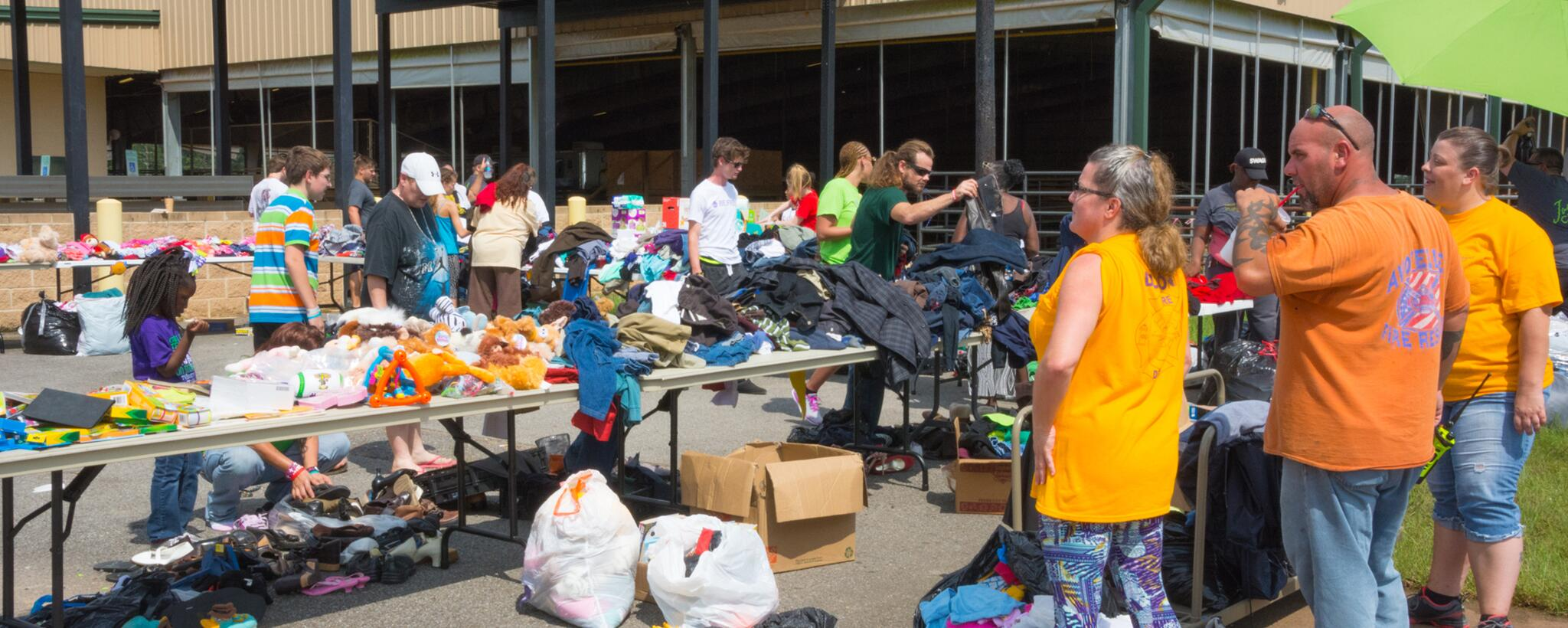 Volunteers and organizations brought clothing and other necessities for people to take as needed