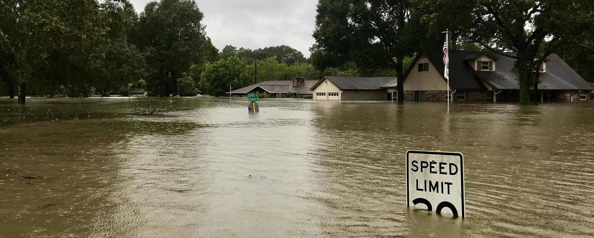 Flooded neighborhood. Flood waters cover a speed limit sign, houses in the background.