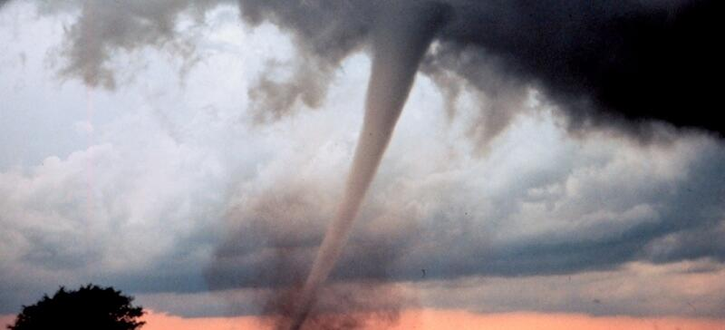 A tornado funnel cloud.