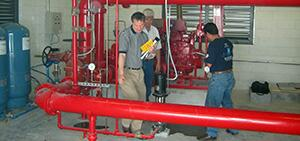Inspection and testing of a fire pump system