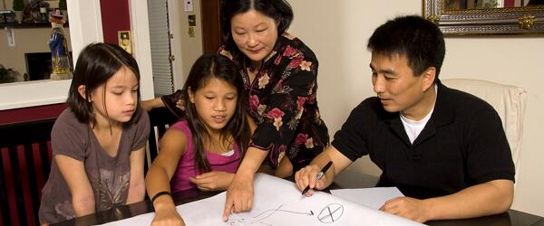 An Asian family makes a fire escape plan