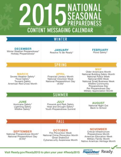 Ready 2015 Seasonal Preparedness Messaging Calendar
