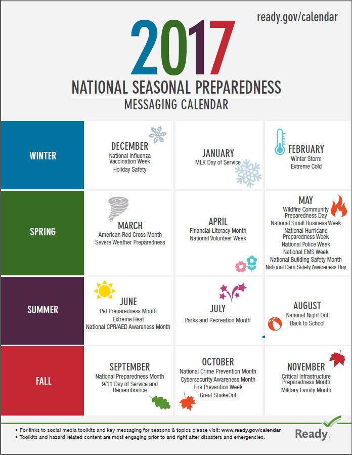 2017 national seasonal preparedness messaging calendar