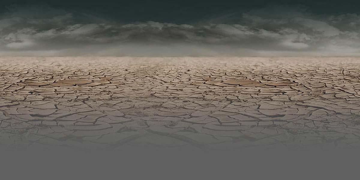 Foto de un terreno seco con un suelo agrietado.