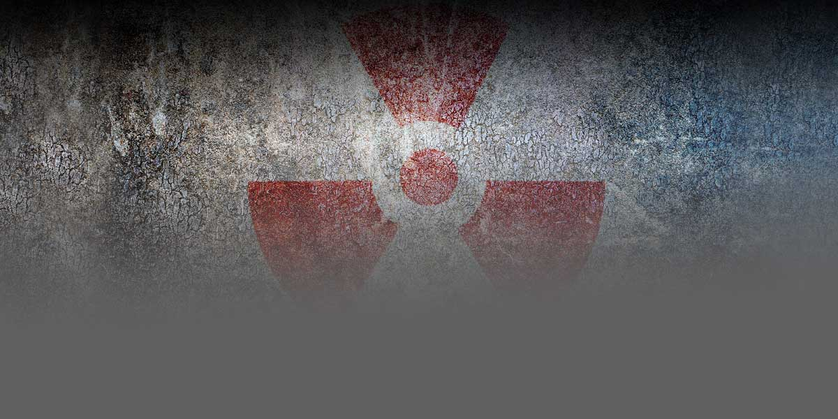 Graphic of a radiological symbol drawn on a wall.