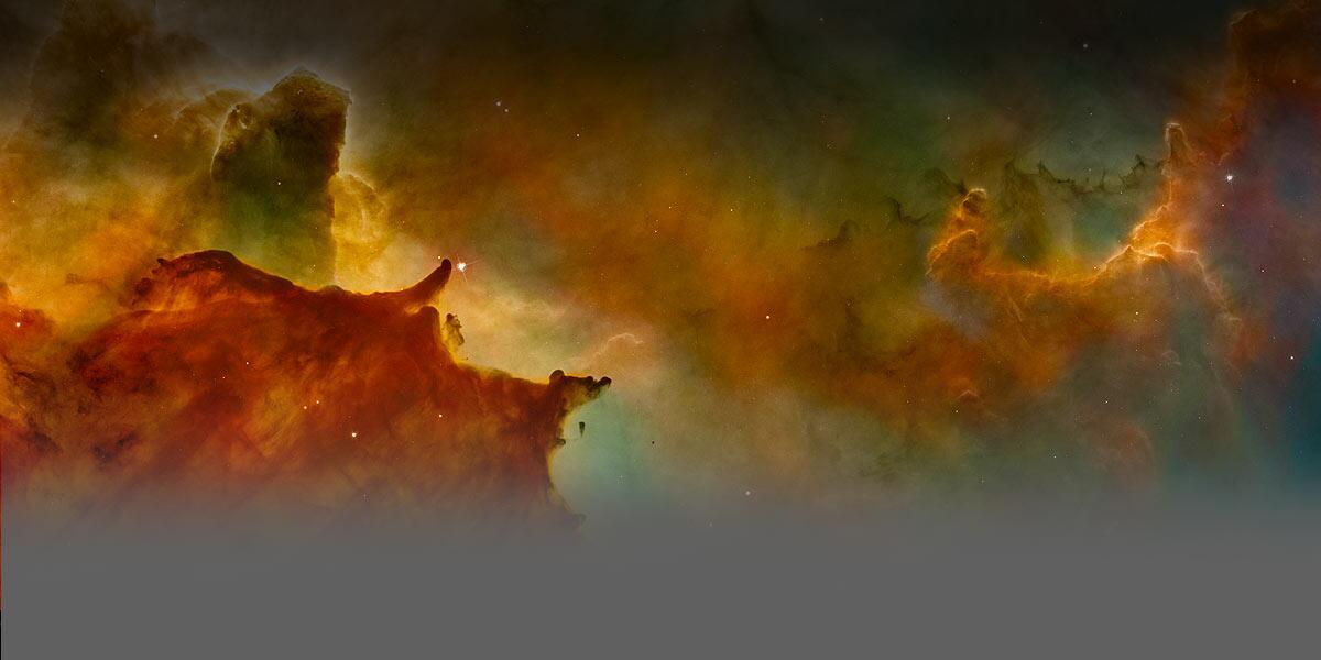 Gráfica de una visualización anaranjada abstracta de nubes y formas en el espacio.