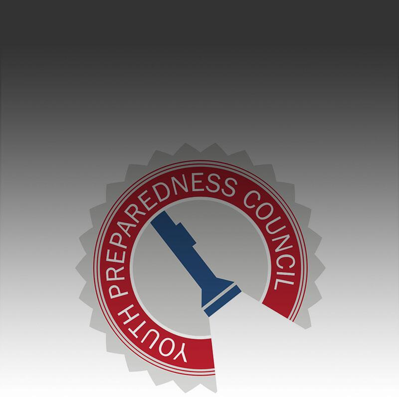 The Youth Preparedness Council logo on a white backgroundd. Logo contains a flashlight with a red circle surrounding it.