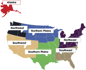 Tribal Regions Map of the United States