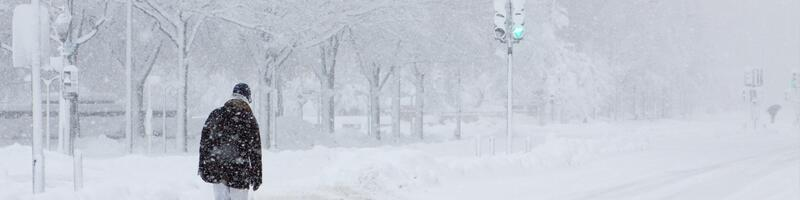 February 5th, 2011. A man walks on the road during the blizzard.