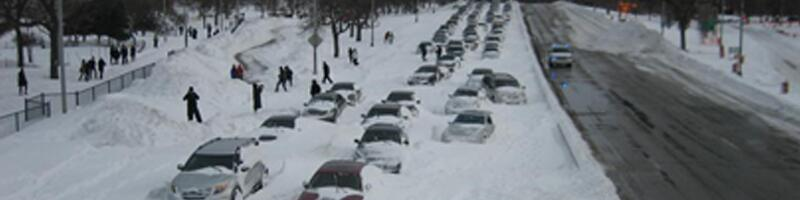 February 2nd, 2011. Abandoned cars on the highway covered in snow.