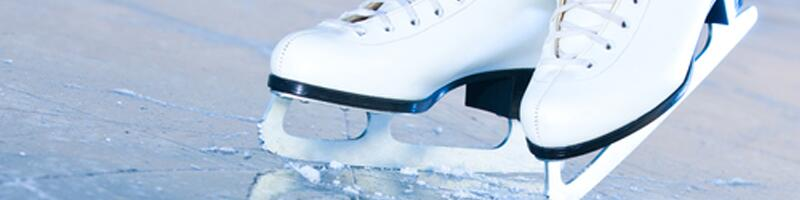 January 9th, 1994. Ice skates balance upon heavily skated iced.