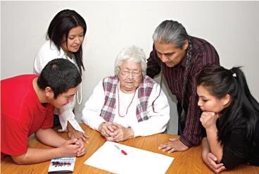 Native American Family creating a Family Emergency Plan