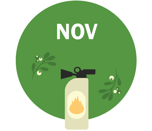 NOV Graphic - fire extinguisher and holiday wreath