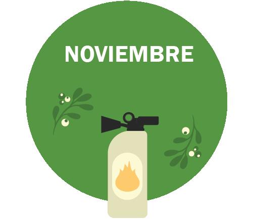 NOVIEMBRE Gráfico - extintor de incendios y corona decorativa