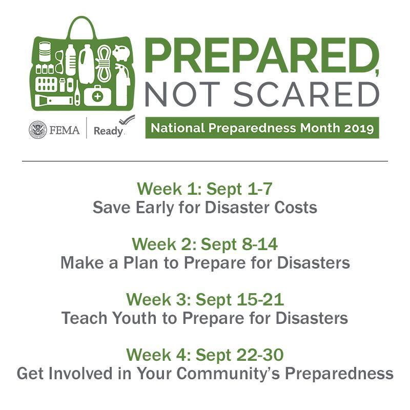 Week 1: Sept 1-7                      Save Early for Disaster Costs  Week 2: Sept 8-14                    Make a Plan to Prepare for Disasters  Week 3: Sept 15-21                  Teach Youth to Prepare for Disasters  Week 4: Sept 22-30                  Get Involved in Your Community's Preparedness