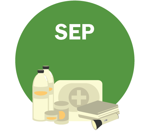 SEP Graphic - emergency supplies including a water bottle, canned goods, first aid kit, books and flashlight