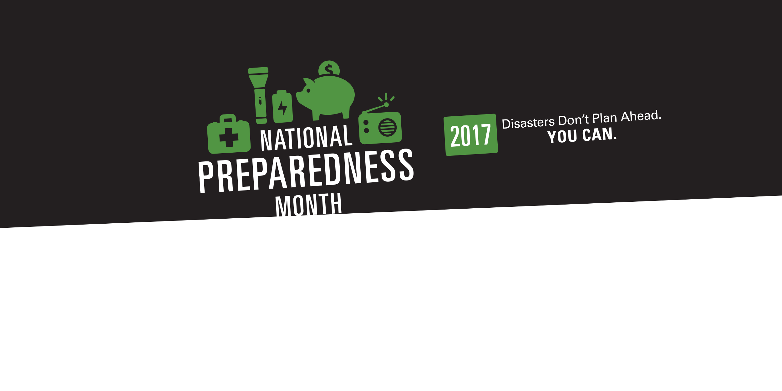 Graphic image of the green 2017 National Preparedness Month logo on a black background.