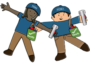 Flat Stella and Flat Stanley Characters with FEMA hat, Flashlight and Kit Bag with Ready Logo