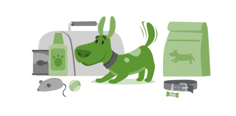 illustration of a dog and an emergency supply kit for pets, which includes food, toys, medicine, food and a collar with a tag.