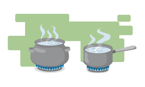 An illustration of water boiling on the stove.