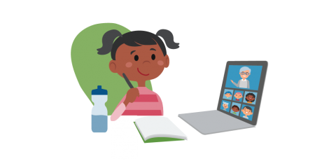Illustration of a little girl distance learning on her computer. On her computer screen are a teach and several classmates. She is ready to write in her notebook.