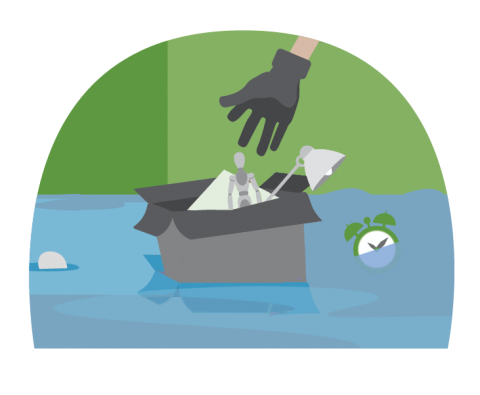 Illustration of a gloved hand cleaning up personal belongings from flood waters in their home.