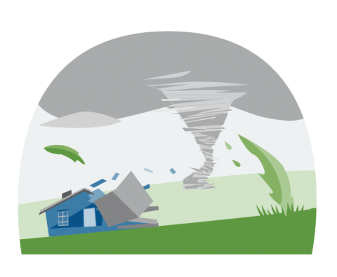 Illustration of a tornado funnel moving away after damaging a house.