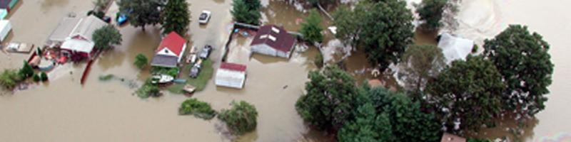 September 16th, 2003. An aerial view of a completely submerged neighborhood.