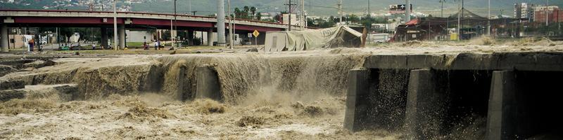September 22nd, 1989. Water gushing over a bridge.