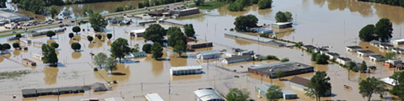 May 1st, 2010. An aerial view of a flooded town.