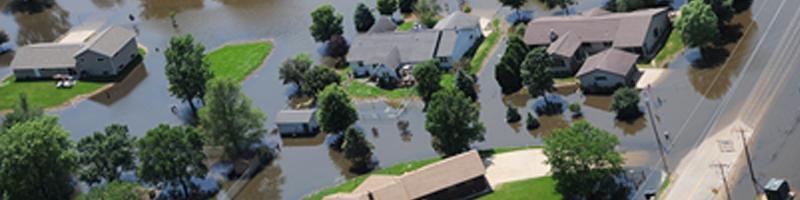 June 5th, 2008. An aerial view of a flooded neighborhood.